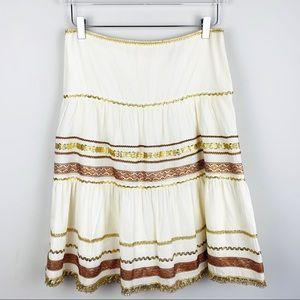 Nanette Lepore Boho Gypsy Midi Skirt in cream gold